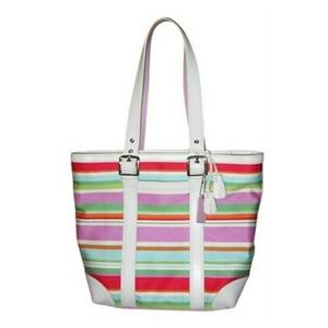 Coach Hampton striped tote shoulder bag